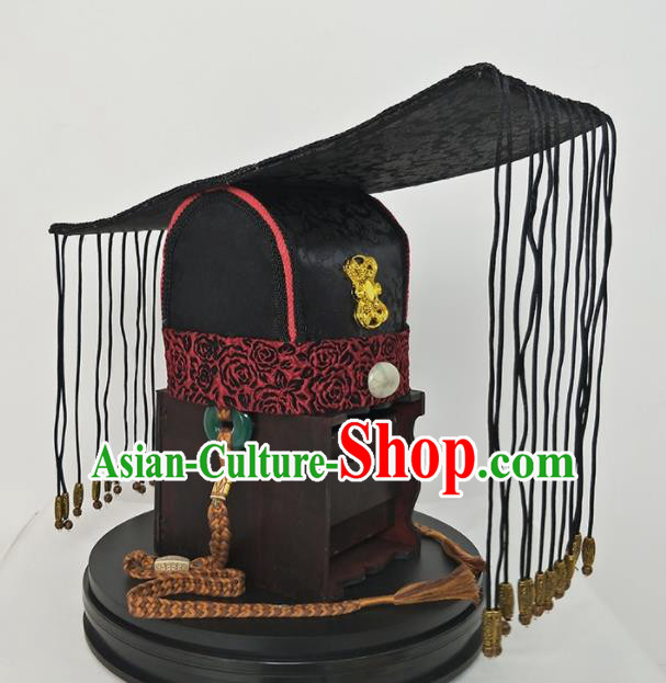 Chinese Ancient Han Dynasty Emperor Hair Accessories King Tassel Hat for Men