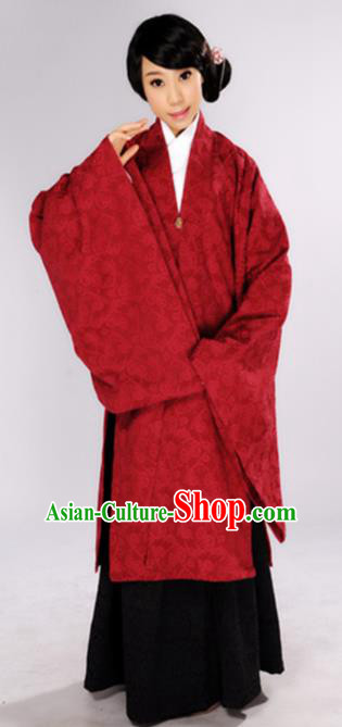 Chinese Traditional Ming Dynasty Countess Red Hanfu Dress Ancient Maidenform Costumes for Women