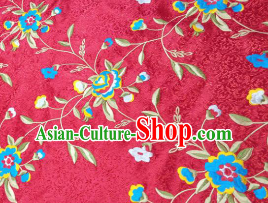 Chinese Traditional Silk Fabric Cheongsam Tang Suit Flowers Pattern Red Brocade Cloth Drapery