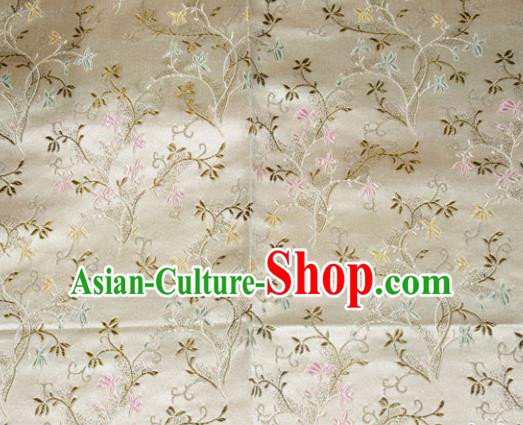 Chinese Traditional Silk Fabric Poplar Blossom Pattern Tang Suit White Brocade Cloth Cheongsam Material Drapery