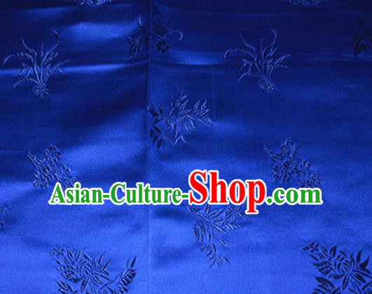 Chinese Traditional Cheongsam Royalblue Silk Fabric Tang Suit Brocade Classical Plum Blossom Orchid Bamboo Chrysanthemum Pattern Cloth Material Drapery