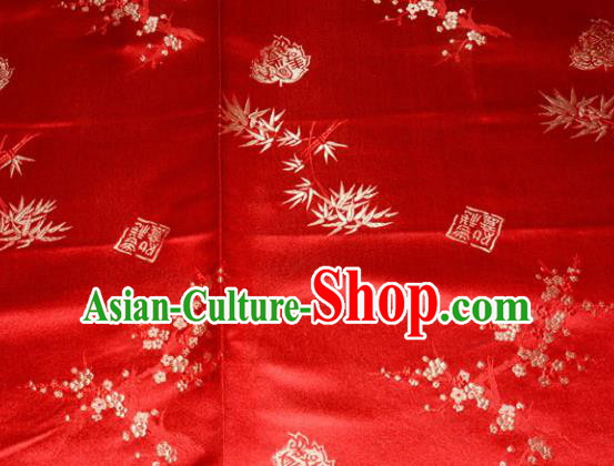 Chinese Traditional Silk Fabric Plum Blossom Bamboo Pattern Tang Suit Red Brocade Cloth Cheongsam Material Drapery