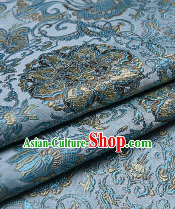 Chinese Traditional Silk Fabric Tang Suit Blue Brocade Cloth Cheongsam Material Drapery