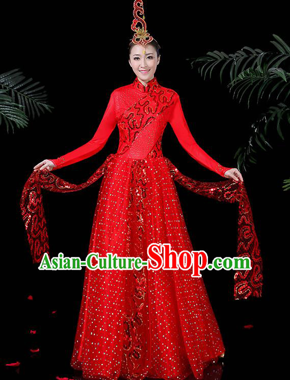Chinese Classical Dance Costume Traditional Folk Dance Red Dress for Women