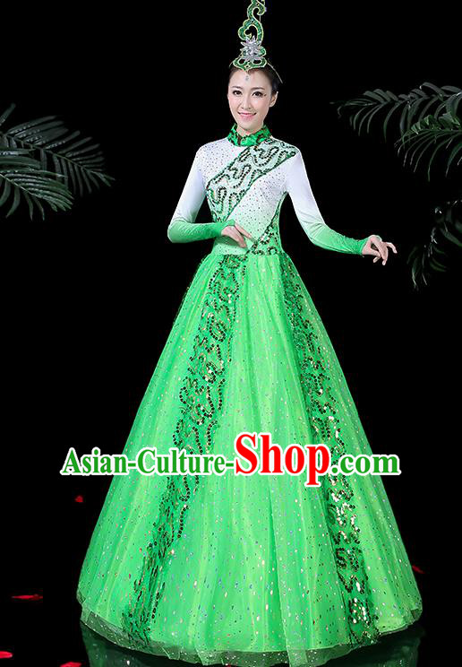 Chinese Classical Dance Costume Traditional Folk Dance Green Dress for Women