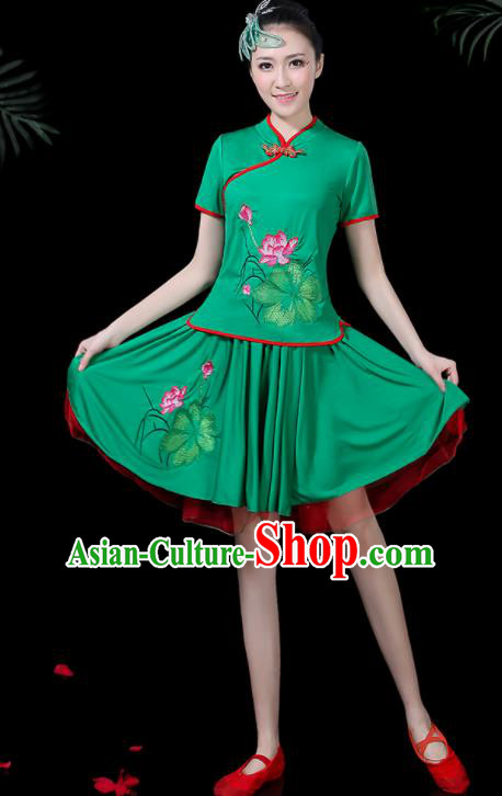 Chinese Classical Lotus Dance Green Costume Traditional Folk Dance Yangko Clothing for Women