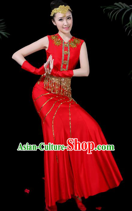 Chinese Traditional Classical Peacock Dance Red Dress Dai Minority Folk Dance Costume for Women