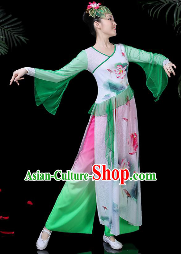 Chinese Classical Dance Printing Lotus Green Dress Traditional Folk Dance Fan Dance Clothing for Women