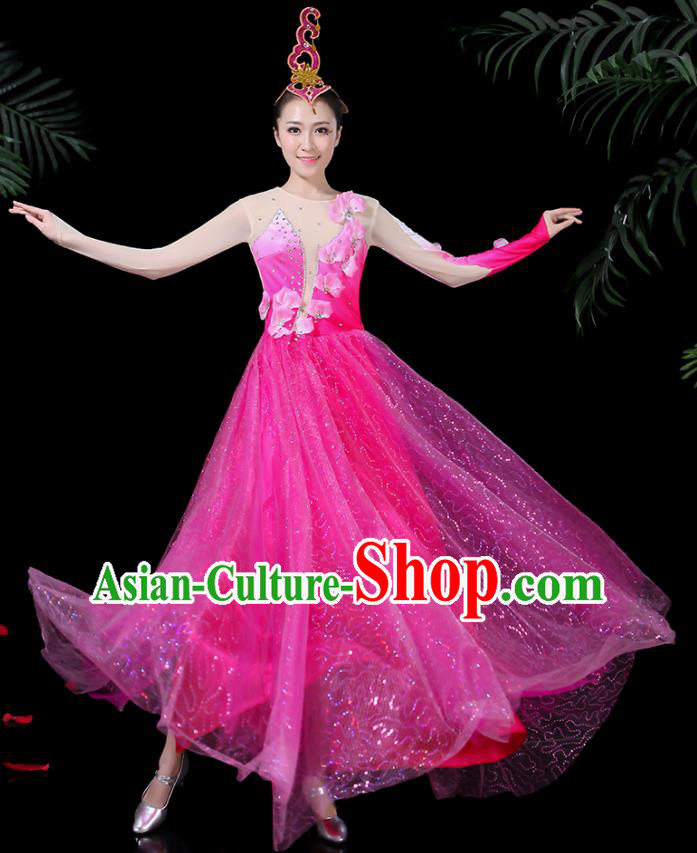 Chinese Classical Dance Rosy Long Dress Traditional Folk Dance Fan Dance Clothing for Women