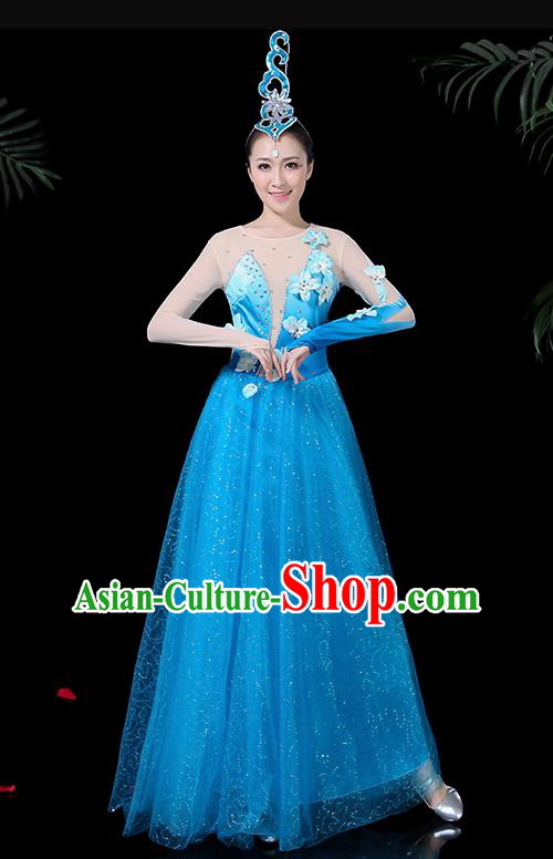 Chinese Classical Dance Blue Long Dress Traditional Folk Dance Fan Dance Clothing for Women
