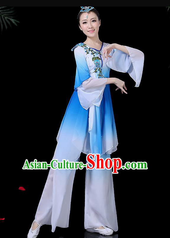 Traditional Fan Dance Blue Dress Chinese Classical Dance Umbrella Dance Costume for Women