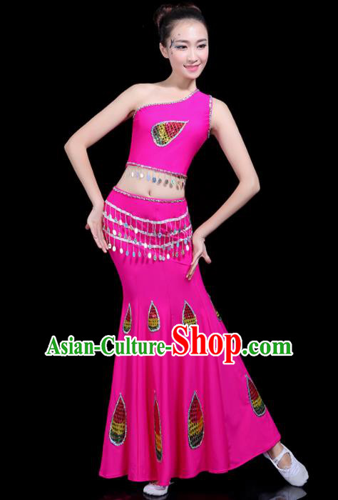 Chinese Traditional Peacock Dance Rosy Dress Dai Minority Folk Dance National Costume for Women