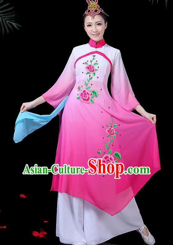 Chinese Classical Dance Umbrella Dance Costume Traditional Fan Dance Rosy Dress for Women