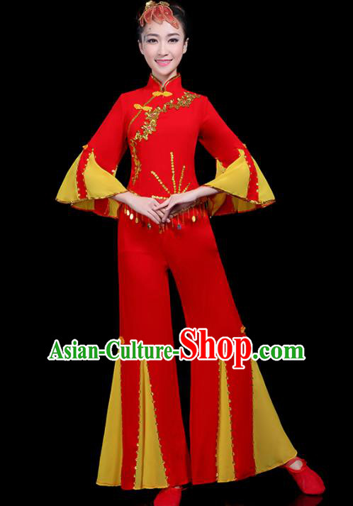 Traditional Fan Dance Yangko Red Costumes Chinese Folk Dance Umbrella Dance Costume for Women