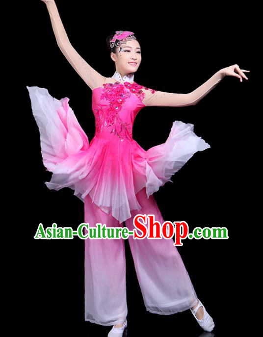 Traditional Classical Dance Umbrella Dance Pink Clothing Chinese Folk Dance Costume for Women