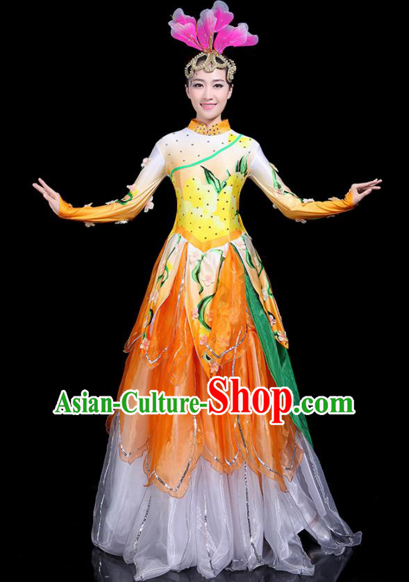 Traditional Classical Dance Umbrella Dance Yellow Dress Chinese Folk Dance Peony Costume for Women