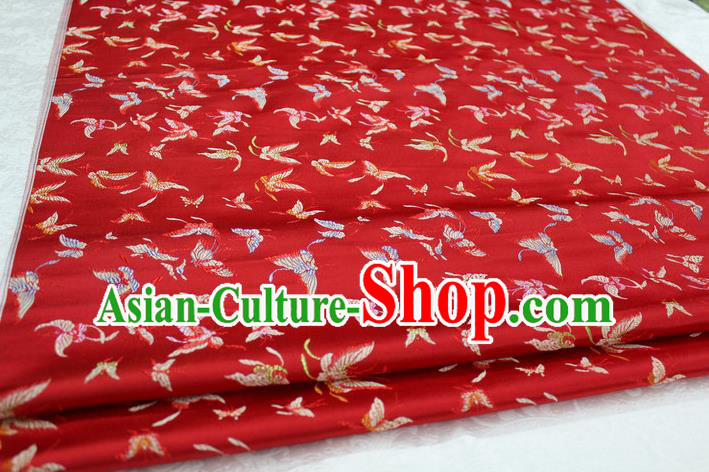Chinese Traditional Cheongsam Cloth Tang Suit Butterfly Pattern Red Brocade Fabric Silk Material Drapery