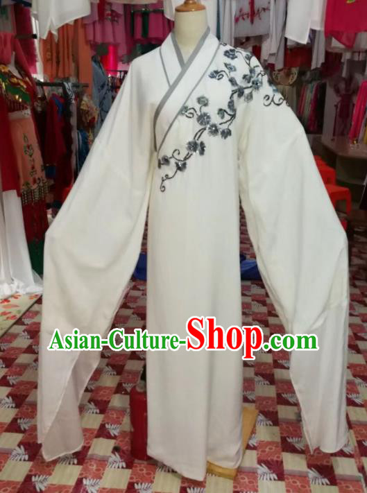 Chinese Traditional Beijing Opera White Robe Peking Opera Niche Costume for Adults