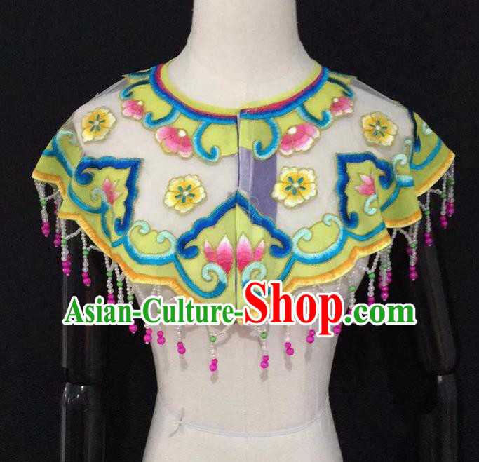 Chinese Traditional Beijing Opera Diva Accessories Peking Opera Costume Embroidered Yellow Cloud Tippet for Adults