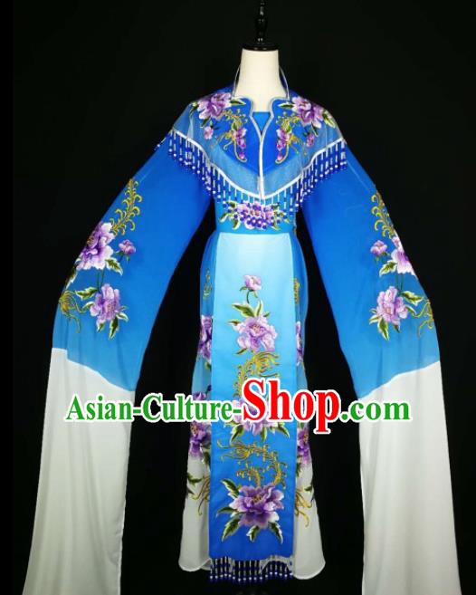 Chinese Traditional Beijing Opera Diva Royalblue Dress Peking Opera Princess Costume for Adults