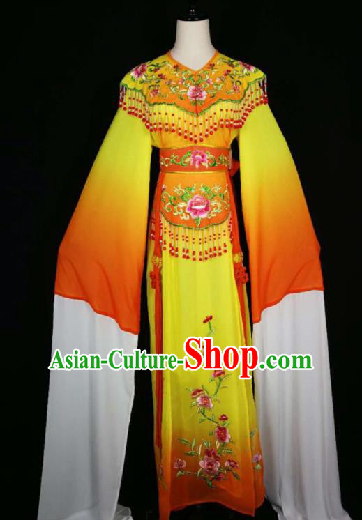 Chinese Traditional Beijing Opera Diva Embroidered Peony Orange Dress Peking Opera Princess Costume for Adults