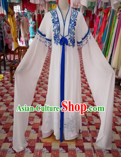 Chinese Traditional Beijing Opera Actress White Dress Peking Opera Princess Costume for Adults