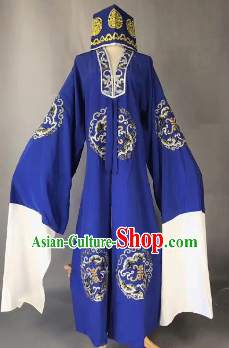 Chinese Traditional Beijing Opera Old Gentleman Costume Peking Opera Royalblue Robe for Adults