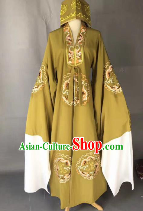 Chinese Traditional Beijing Opera Old Gentleman Costume Peking Opera Ginger Robe for Adults
