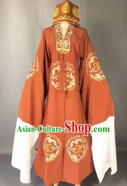 Chinese Traditional Beijing Opera Old Gentleman Costume Peking Opera Orange Robe for Adults