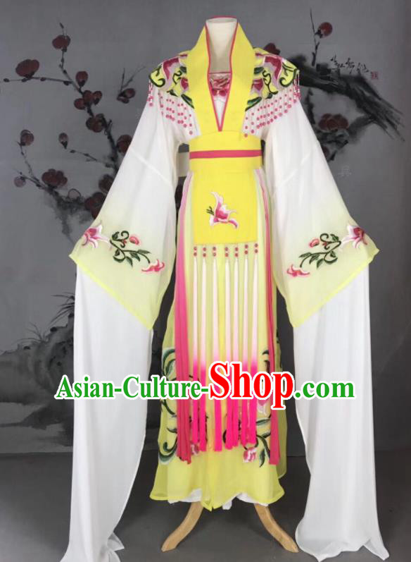 Chinese Traditional Beijing Opera Princess Yellow Hanfu Dress Peking Opera Diva Water Sleeve Costume for Adults