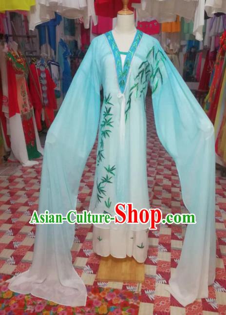 Chinese Traditional Beijing Opera Diva Embroidered Costume Blue Dress for Adults