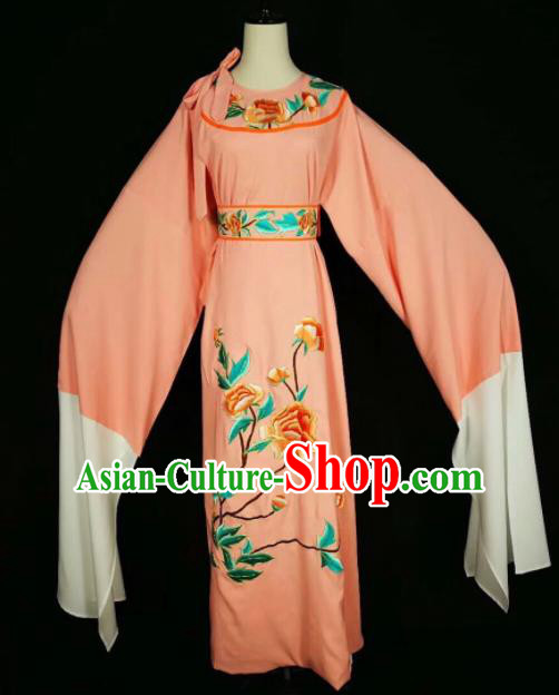 Chinese Traditional Beijing Opera Scholar Costume Peking Opera Embroidered Peony Orange Robe for Adults