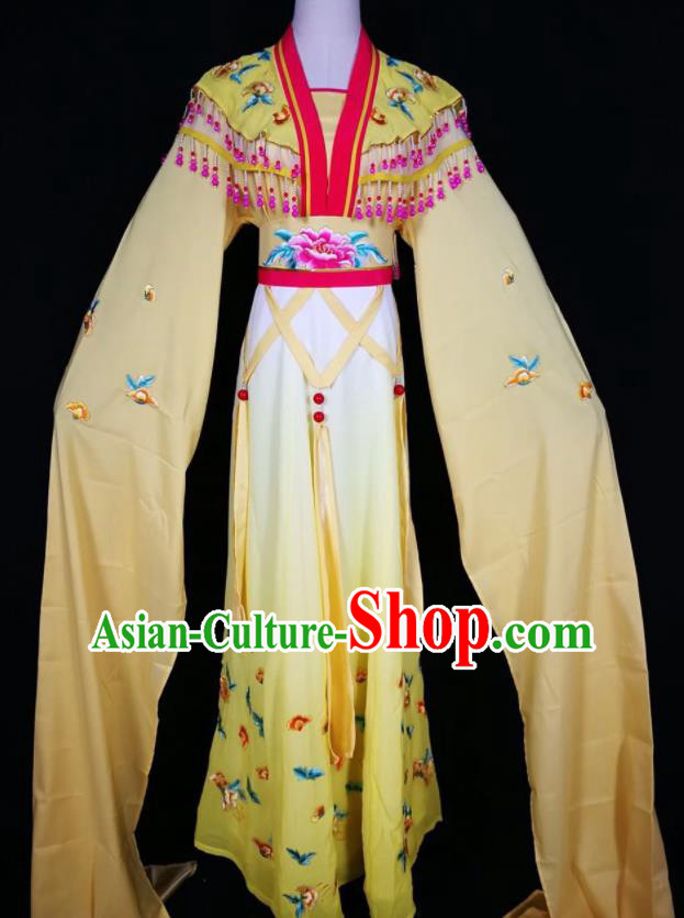 Chinese Traditional Beijing Opera Actress Costume Princess Embroidered Yellow Hanfu Dress for Adults