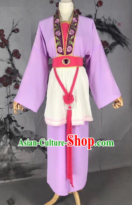 Chinese Traditional Beijing Opera Mui Tsai Costume Servant Girl Purple Clothing for Poor