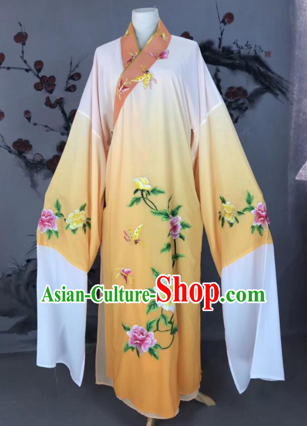 Chinese Traditional Beijing Opera Scholar Costume Peking Opera Niche Yellow Embroidered Robe for Adults