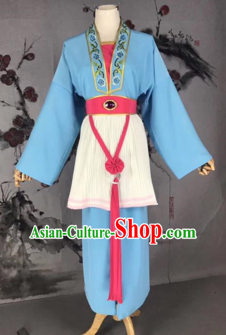 Chinese Traditional Beijing Opera Mui Tsai Costume Servant Girl Blue Clothing for Poor