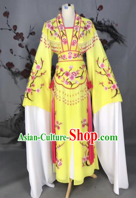 Chinese Traditional Beijing Opera Yellow Embroidered Dress Peking Opera Actress Costume for Rich