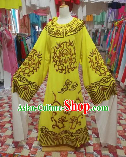 Chinese Traditional Beijing Opera Scholar Costume Peking Opera Prince Embroidered Yellow Robe for Adults