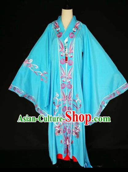 Chinese Traditional Beijing Opera Queen Clothing Peking Opera Actress Blue Costumes for Adults