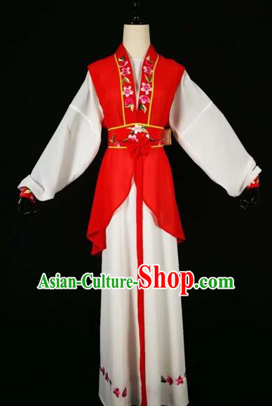 Chinese Traditional Beijing Opera Young Lady Red Dress Peking Opera Maidservants Costumes for Adults
