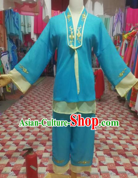 Chinese Traditional Beijing Opera Mui Tsai Blue Clothing Peking Opera Actress Costume for Poor Girls