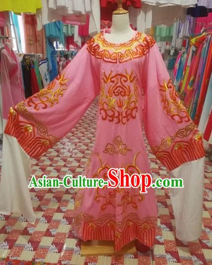 Chinese Traditional Beijing Opera Scholar Costume Peking Opera Prince Embroidered Pink Robe for Adults