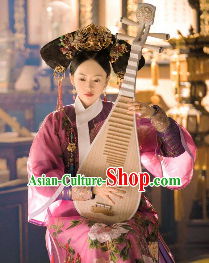 Chinese Qing Dynasty Senior Concubine Ancient Drama Ruyi Royal Love in the Palace Costumes and Handmade Headpiece Complete Set