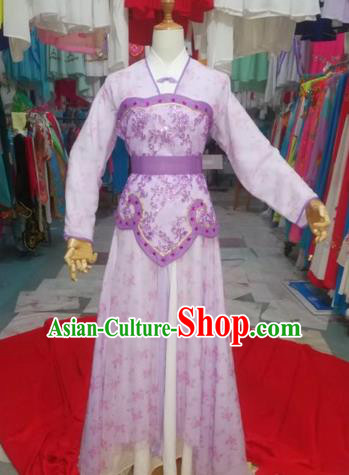 Chinese Traditional Beijing Opera Maidservants Purple Clothing Peking Opera Diva Costumes for Adults