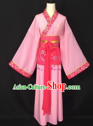Chinese Traditional Beijing Opera Handmaiden Pink Hanfu Dress Peking Opera Diva Costumes for Adults