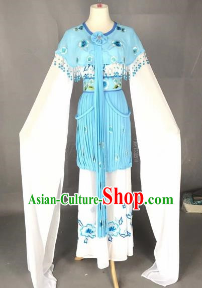 Chinese Traditional Beijing Opera Princess Blue Dress Peking Opera Diva Costumes for Adults