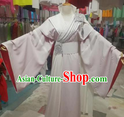 Chinese Traditional Beijing Opera Princess White Dress Peking Opera Diva Costumes for Adults