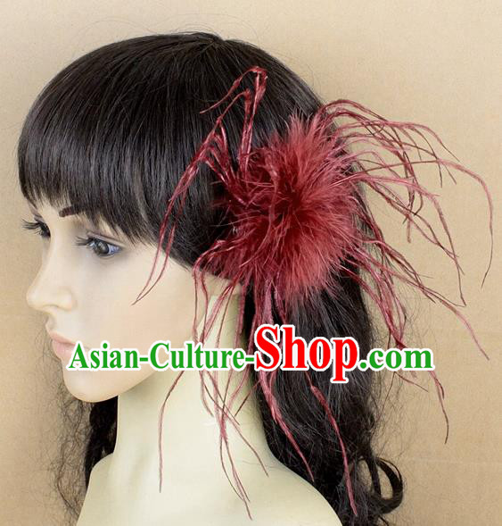 Handmade Carnival Red Ostrich Feather Hair Claw Miami Stage Show Feather Hair Accessories for Women
