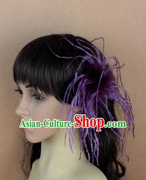 Handmade Carnival Purple Ostrich Feather Hair Claw Miami Stage Show Feather Hair Accessories for Women