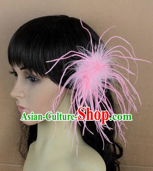 Handmade Carnival Pink Ostrich Feather Hair Claw Miami Stage Show Feather Hair Accessories for Women